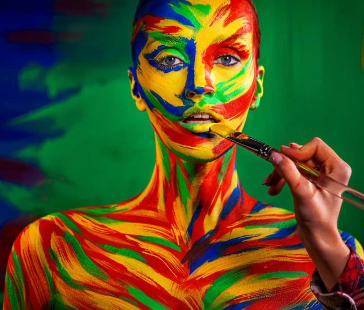 acrylic paint on skin