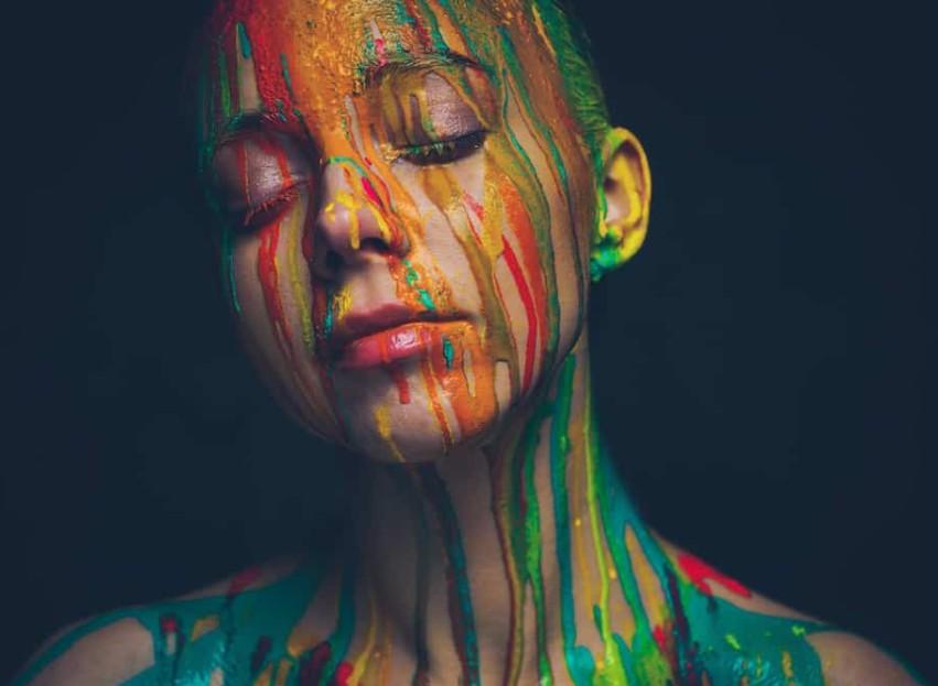 acrylic paint on face